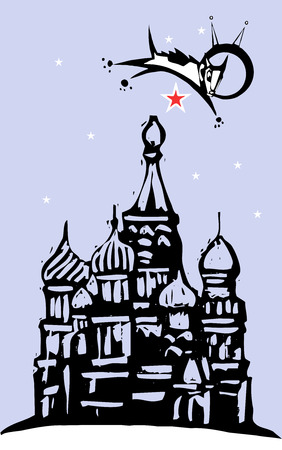 Laika the cosmonaut dog flying over red square and the Kremlin in Russia. Vector