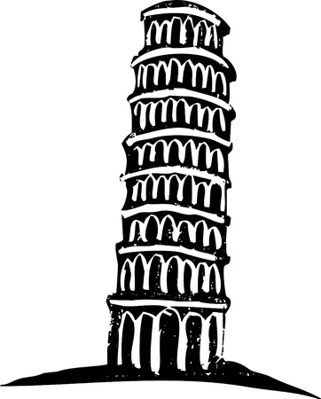 pisa tower: Black and White woodcut style illustration of the leaning tower of Pisa Italy.