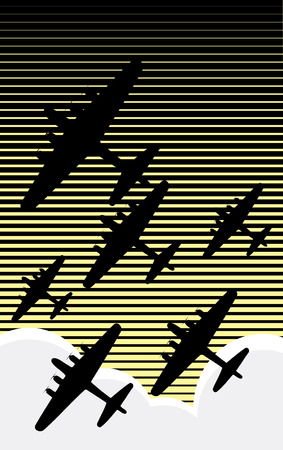 fleet: Fleet of World War II bombers against an evening sky retro poster style. Illustration