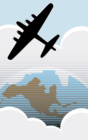 wwii: American Bomber over the USA in retro poster style.