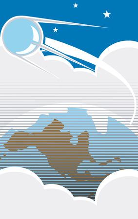 スプートニクは、レトロなポスター スタイルの雲が付いている米国上空を飛行します。  イラスト・ベクター素材