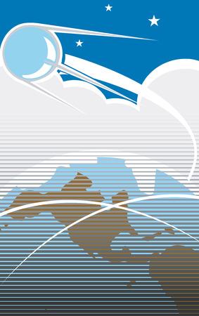 スプートニクは、レトロなポスター スタイルの米国上空を飛行します。