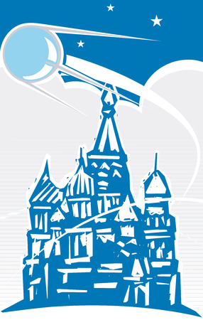 cold war: Sputnik flying over Red Square in retro poster style. Illustration