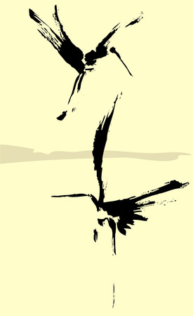 wade: Two herons rendered in a simplistic brush style.