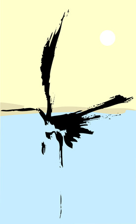 influenced: Heron rendered with simple japanese influenced brush strokes.