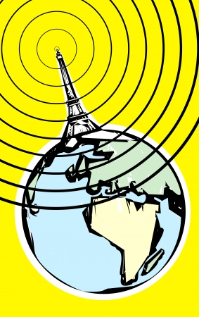 radio tower: Radio signal going out into space in retro soviet poster style.