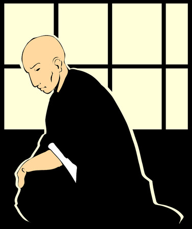 A shinto priest reflects on life by japanese paper windows.