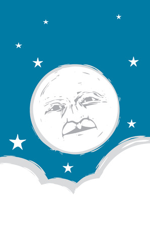 Moon face in the sky with clouds and stars. Stock Vector - 5810301