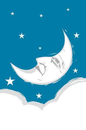 croissant de lune: Crescent Moon Face aux nuages et des �toiles.