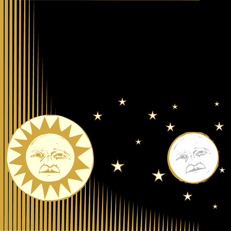 Sun and moon with faces and patterned background.