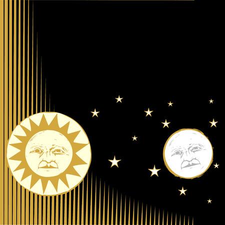 Zon en maan met gezichten en patroon achtergrond. Stock Illustratie