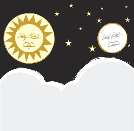 Zon en maan aan de hemel samen met wolken en sterren.  Stock Illustratie