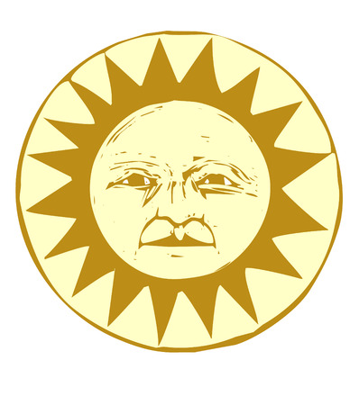 Isolated Sun face illustrated in a woodcut style.