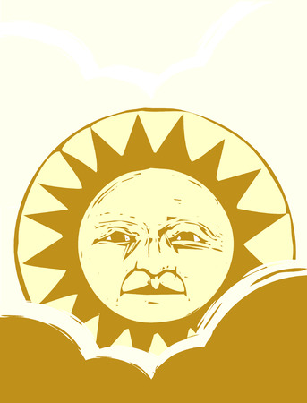 Sun face with clouds in a yellow sky. 向量圖像