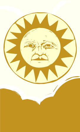 Sun face with clouds in a yellow sky. Иллюстрация