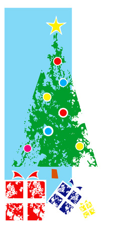 Wrapped presents below a green Christmas Tree. Çizim