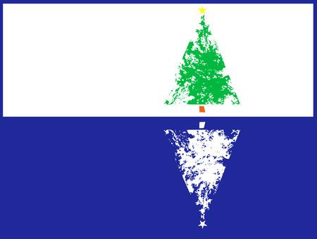 Christmas tree with a pale ice like reflection. Ilustração