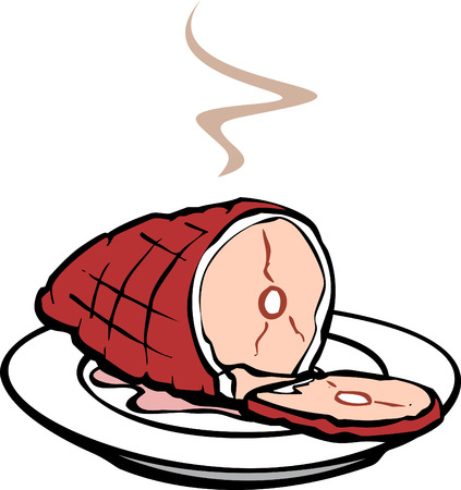 ham: A ham that has been cooked for dinner. Illustration