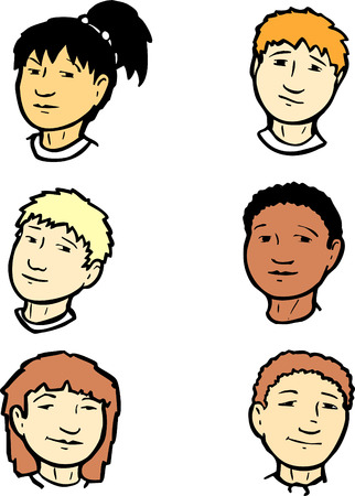 differing: Group of six childrens heads of differing ethnic groups.