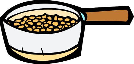 roasting: Cooking pot full of beans roasting inside.