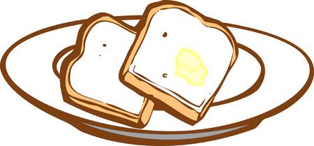 いくつかのバター トーストの 2 つのスライス。