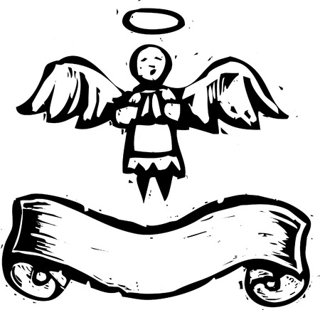 Christmas Angel with halo and banner in woodcut style.
