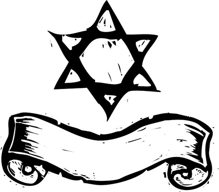 Jewish Star of David and banner in a woodcut style
