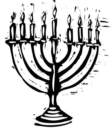 Woodcut 스타일의 휴일을위한 하누카 메 노라 (Hanukkah Menorah).
