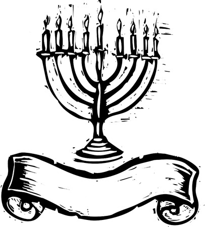 A Hanukkah Menorah with banner for the holidays in a woodcut style.