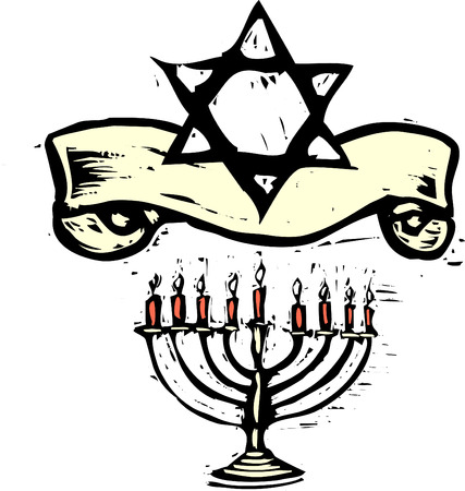 jews: Hanukkah Menorah and Star of David with Holiday banner. Illustration