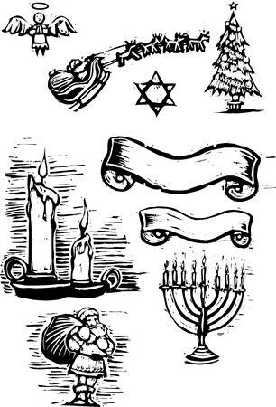 jewish: Set of Christmas Spot illustrations and banners.