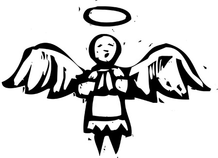 angel: Christmas Angel with halo in woodcut style. Illustration