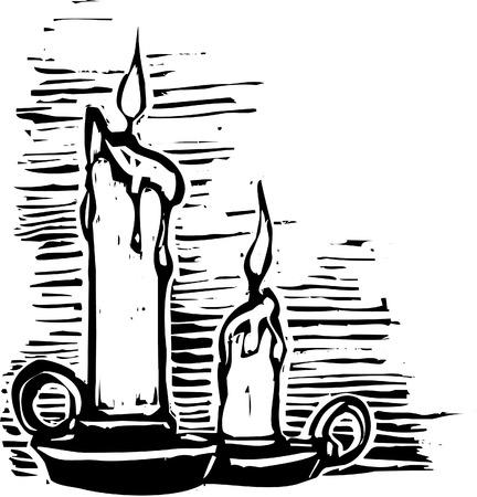 woodcut 스타일에서 배너와 두 크리스마스 촛불입니다.