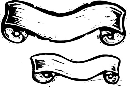xilografia: Dos pancartas en un estilo de xilografía.
