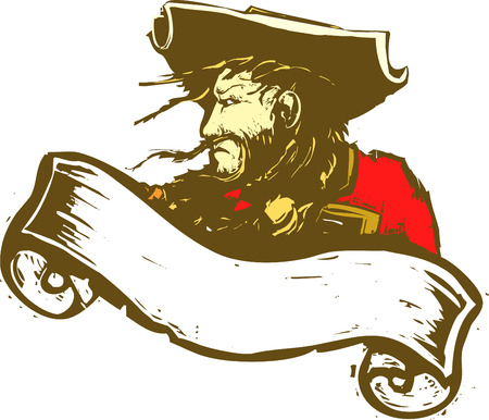 booty pirate: Blackbeard the Pirate with scroll banner.