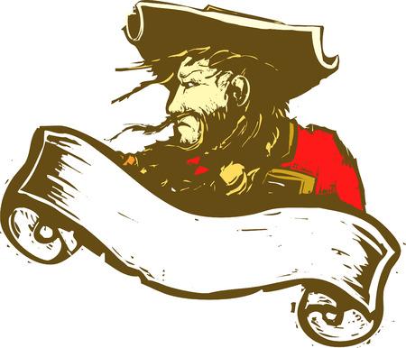 Zwart baard de piraat met scroll banner.