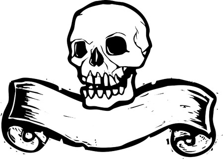 Pirate Skull with woodcut banner beneath. Vector