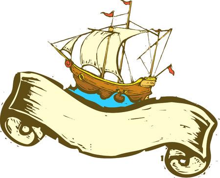 스크롤 배너와 함께 높은 바다를 항해하는 해적선.