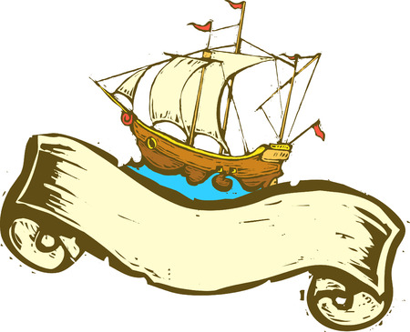 Pirate ship sailing the high seas with scroll banner. Illustration