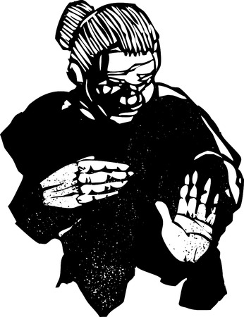 Old Woman in woodcut style with expressive hands. Ilustração