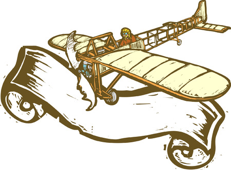 Vintage airplane with scroll banner in woodcut style.