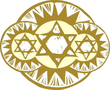 jews: Three Star of David in a a styled array.