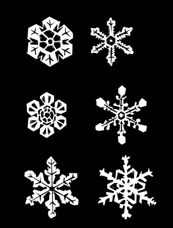 Snowflakes placed on a solid black background. Stock Vector - 5986390