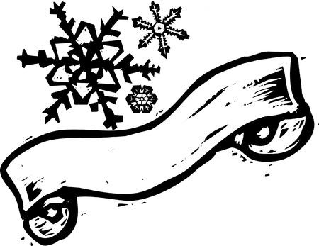 スクロール バナー 3 つ木版画様式の雪片。