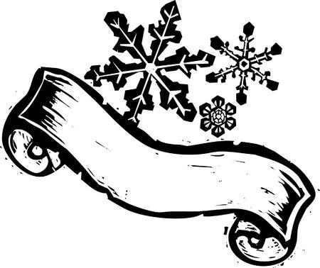 3 つのスクロール バナー木版画様式の雪片。