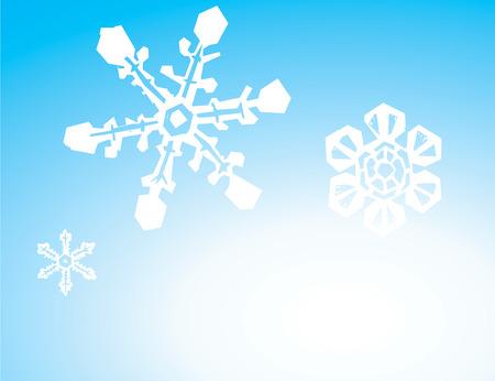 グラデーションの 3 つの雪片の背景イメージです。  イラスト・ベクター素材