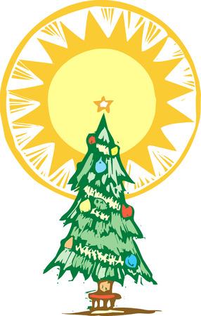Arbres de Noël avec un halo stylisé sur le haut.  Banque d'images - 5986388