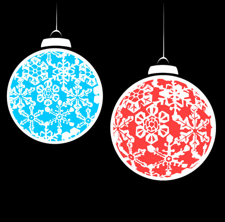 blizzards: Hanging christmas ornaments with a snowflake motif.