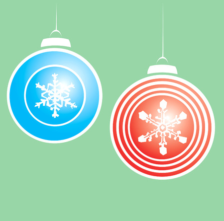 Hanging christmas ornaments with a snowflake motif.