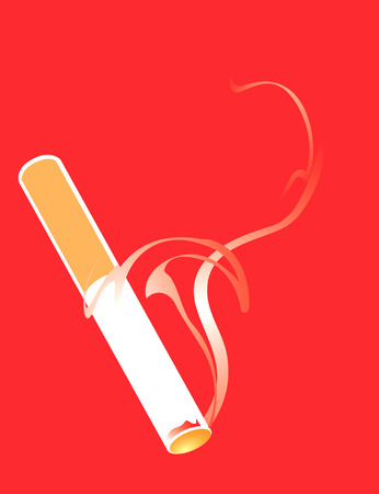 smoking cigarette: Lit and smoking Cigarette on a red background.